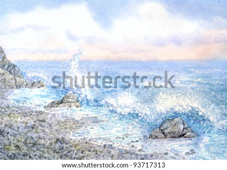 Watercolor seascape. Scenic morning surf on the rocky shore - stock photo