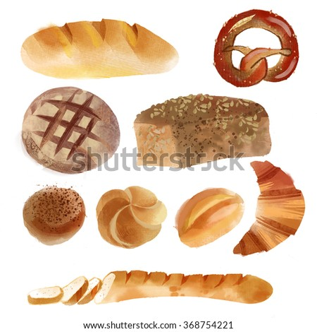 Watercolor set of bread
