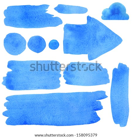 Watercolor set of isolated blue spots and stripes - stock photo