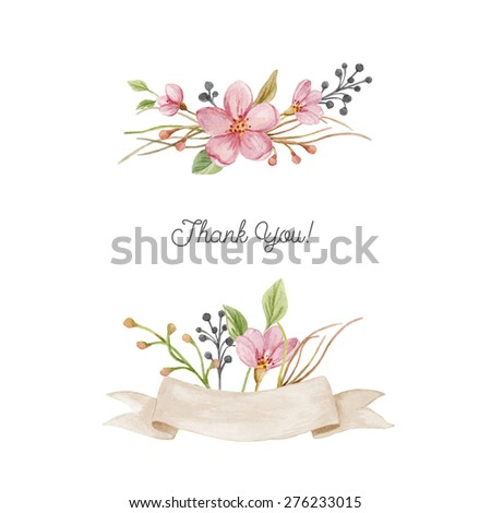 Watercolor set with floral posies, and ribbon. Hand drawn illustration with blossoms floral composition isolated on white background. - stock photo