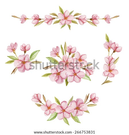 Watercolor set with floral wreaths and posies. Hand drawn illustration with cherry blossoms floral composition isolated on white background. - stock photo