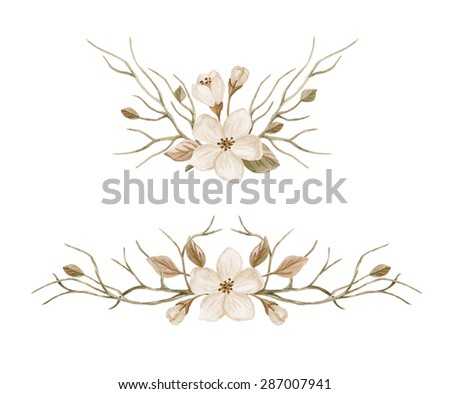 Watercolor set with floral wreaths. Blooming tree branches hand drawn. Watercolor illustration in retro style - stock photo