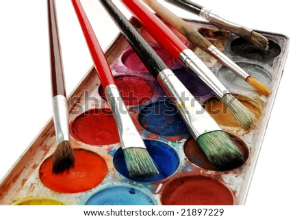 Watercolor set with paintbrushes isolated on white background