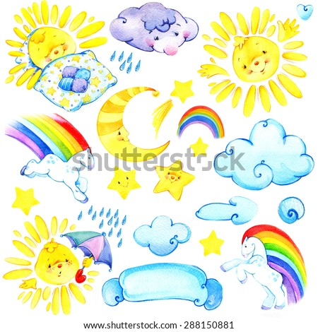watercolor set with Sun, clouds, moon, stars, rainbow.  kids background