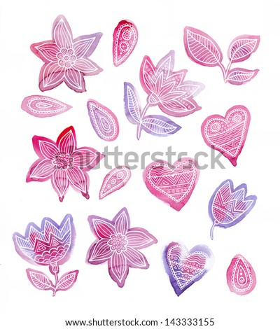 watercolor shapes of flowers and hearts with a lace ornament - stock photo