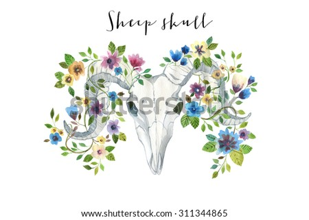 Watercolor sheep skull with flowers. Illustration isolated on white - stock photo