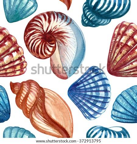 watercolor shells pattern - stock photo