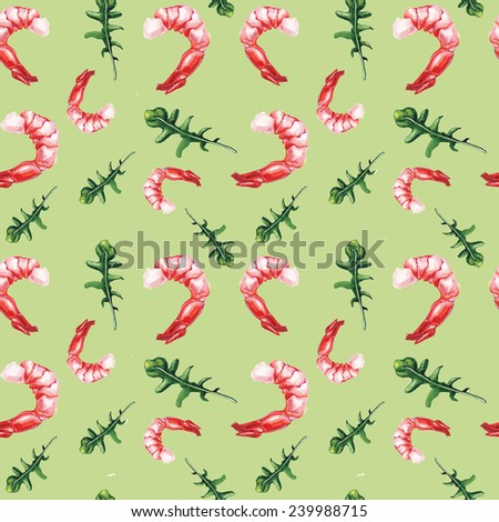 watercolor shrimp and rucola pattern watercolor shrimp and rucola pattern  - stock photo