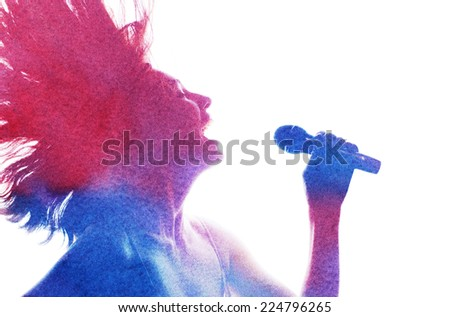 watercolor silhouette of a beautiful girl - stock photo