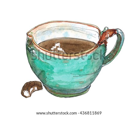 Watercolor sketch illustration art Original turquoise ceramic mug of coffee and chocolate candy isolated