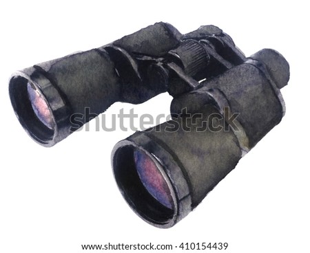 watercolor sketch of binoculars on a white background - stock photo