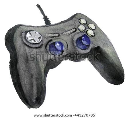 watercolor sketch of joystick background - stock photo