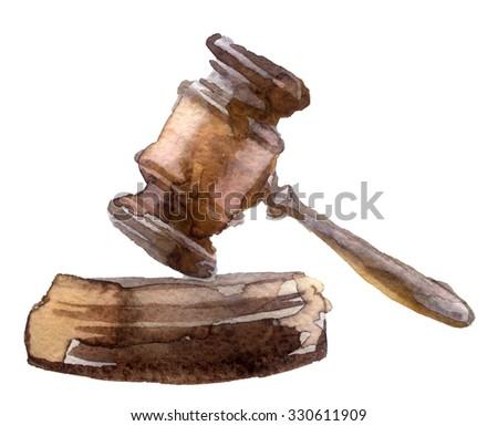 Watercolor sketch of judge gavel. - stock photo