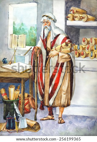 "Watercolor sketch of series ""Characters of Palestine"". Jewry historic figure wise scholar teacher by holy law. Pious elder in robe, turban, tallit, with sacred tora megilla in room of temple library - stock photo"