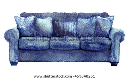 watercolor sketch of sofa on a white background - stock photo