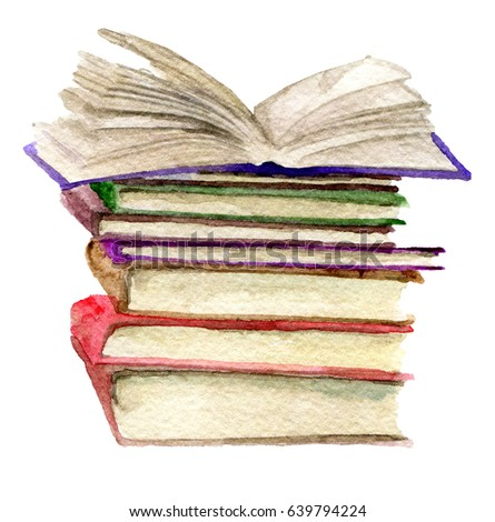Watercolor sketch stack books isolated on stock illustration 639794224 shutterstock