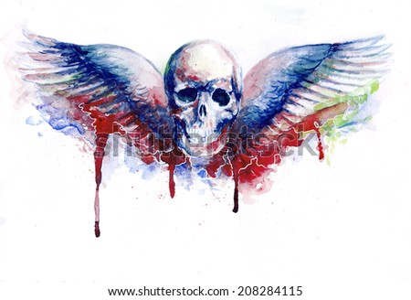 watercolor skull with wings, with blood drops - stock photo
