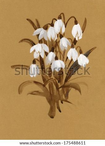Watercolor snowdrops - stock photo