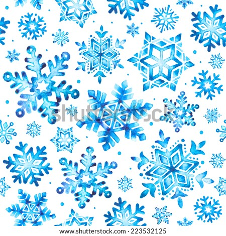 Watercolor snowflakes seamless pattern - stock photo
