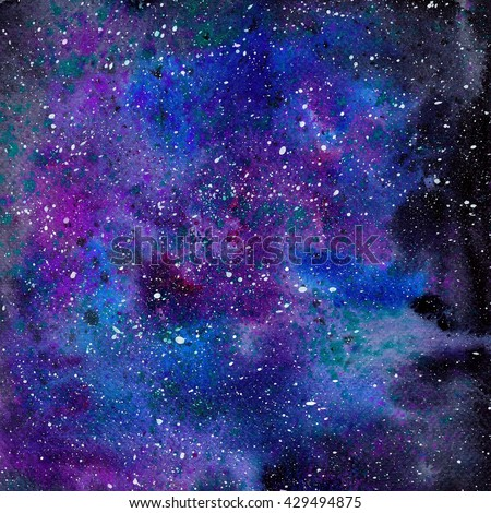Watercolor spa?e background night sky with stars and nebula. Hand drawn - stock photo