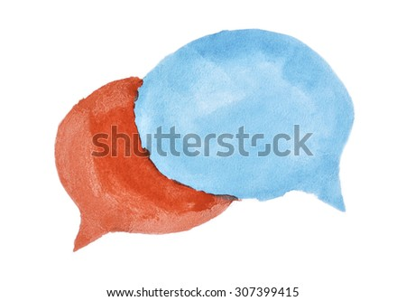 Watercolor speech bubbles - stock photo
