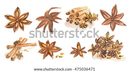 Watercolor Spices Set All Types Spices Stock Illustration ...
