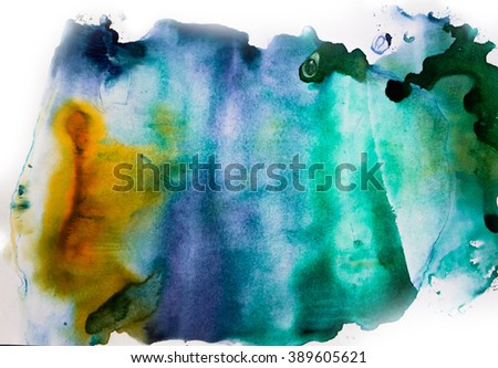 Watercolor splash. Abstract watercolor. Hand drawn watercolor shape background. Isolated on white background. Hand drawn water ink illustration. Bright color. - stock photo