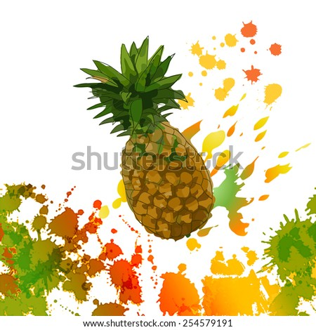 watercolor splash, juicy pineapple - illustration - stock photo