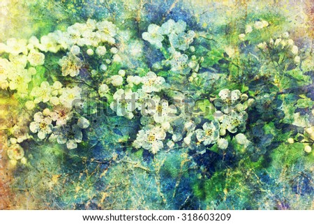 watercolor splashes and blooming branch - stock photo