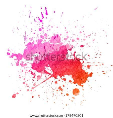 Watercolor splashes on the white. Watercolor background. - stock photo