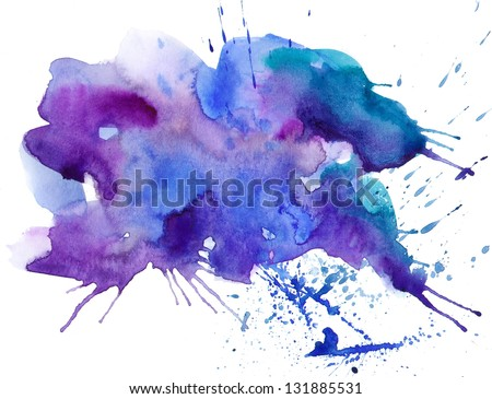 watercolor spot and stokes - stock photo