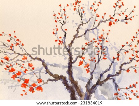 Watercolor spring background in Japanese style. The bright red flowers and buds on the branches of an old tree  - stock photo
