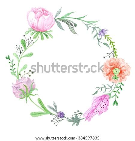 Wreath Flowers Stock Illustration 641462476