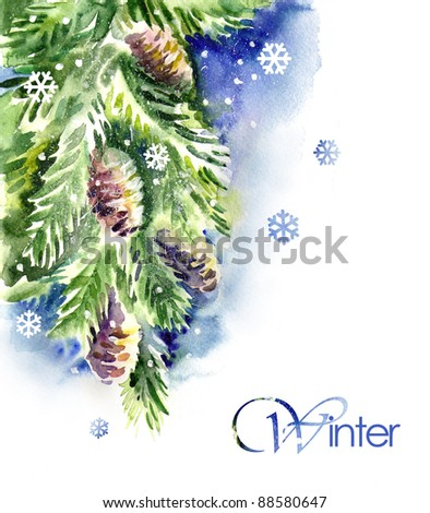Watercolor -Spruce branch- - stock photo