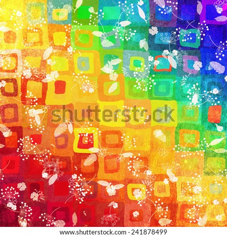 Watercolor square patches with drawing flowers - stock photo