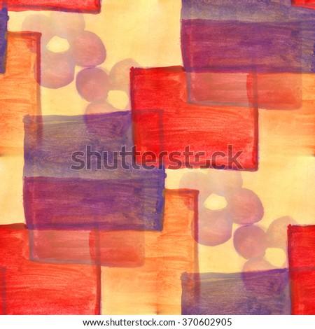 watercolor  square pattern ornament seamless background illustration vintage design art wallpaper  - stock photo