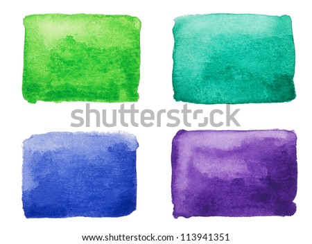 Watercolor squares isolated , hand painted - stock photo