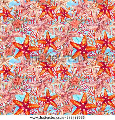 Watercolor starfishes and coral reefs on sea waved background. Hand painted illustration for marine design. Sea and ocean design - stock photo