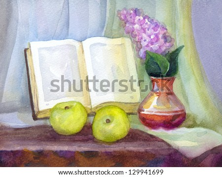 Watercolor still life. Book in the form of a frame, a bouquet of lilacs in a vase and green apples on the drapery - stock photo