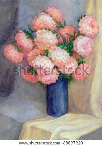 Watercolor Still Life. Dark blue vase with a bouquet of luxurious pink asters - stock photo