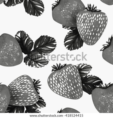 Watercolor strawberries seamless pattern - stock photo