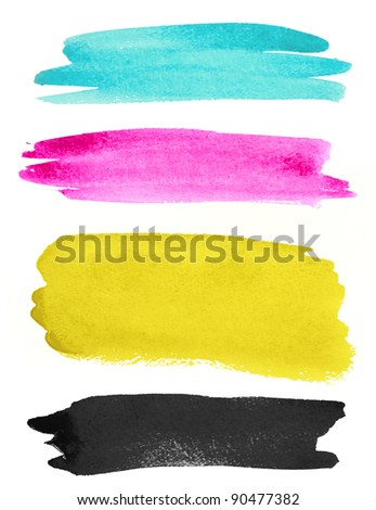 watercolor strokes on white paper - stock photo