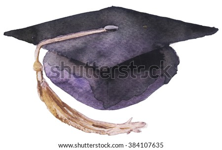 watercolor student cap on a white background - stock photo