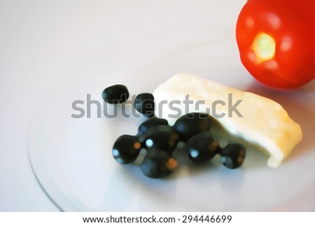 Watercolor style blurry breakfast background. Food presentation illustration. Tomatoes with cheese and olives on a transparent plate.