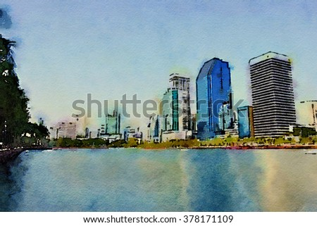 Watercolor style, Lake at the Benjakitti Park in Bangkok on 14 Feb 2016. Benjakiti Park is a park in honor of Her Majesty Queen Sirikit, is located in the Tobacco factory area. - stock photo