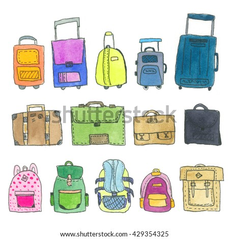 Watercolor Suitcase and Backpack