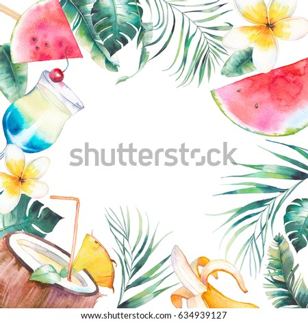 Watercolor Summer Frame Hand Drawn Vacation Stock Illustration ...