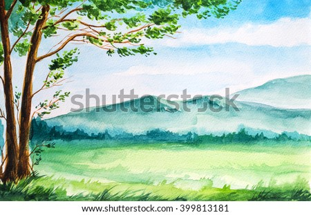 Watercolor summer landscape. Field, tree and mountains. - stock photo