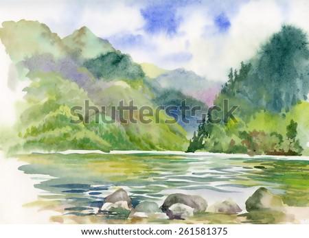 Watercolor summer river landscape - stock photo