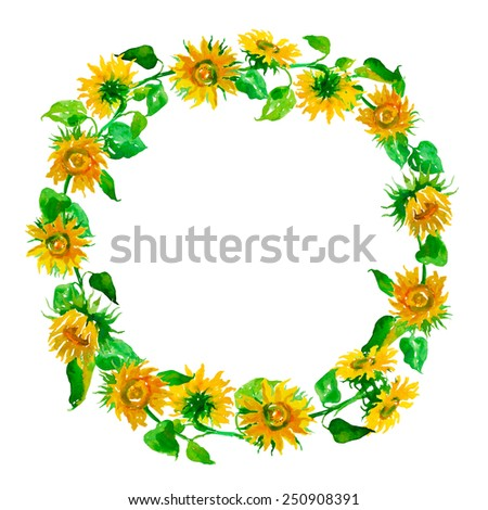 Watercolor sunflower frame isolated on a white background - stock photo